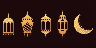 vintage luminous lanterns arabic and moon vector