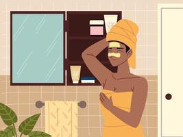 woman looking in mirror and applying skin care product vector