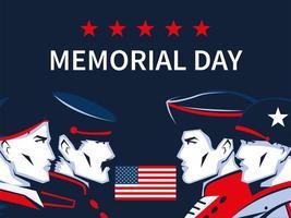 memorial day soldiers vector