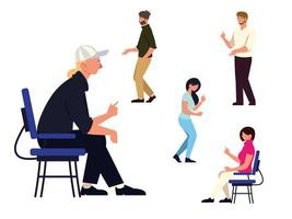 set teamwork people group sitting and standing characters vector