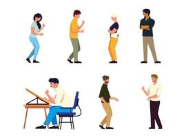 set different people talking and working at desk, teamwork vector