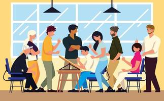 teamwork men and women sitting at desk and standing in modern office, working vector