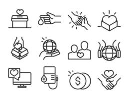 donation charity volunteer help social assistance icons collection line style vector