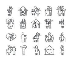 family day father mother kids grandparents characters set icon in outline style vector
