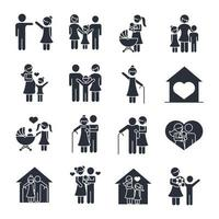 family day father mother kids grandparents characters set icon in silhouette style vector