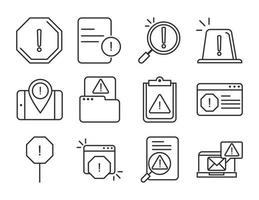 alert attention danger exclamation mark precaution line style design icons set vector