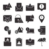 alert attention danger exclamation mark precaution silhouette style design icons set vector