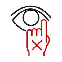 Dont touch your eye line bicolor style icon vector design