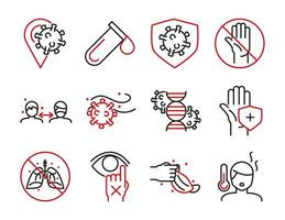 Medical care and covid 19 virus line bicolor style icon set vector design