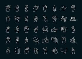 sign language hand gestures collection icons line and fill vector