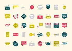 were open collection different announce sign boards flat icons vector