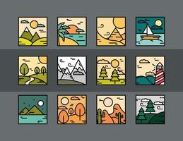 landscapes nature tropical desert ocean scenery icons line and fill style vector