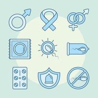 métodos anticonceptivos de salud sexual iconos de género y cinta relleno de línea azul vector