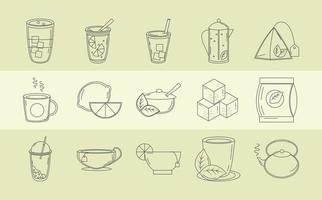 tea beverage fresh herbal antioxidant set icons line style vector