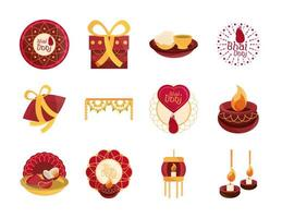 happy bhai dooj celebration relationship brothers and sisters collection icons vector