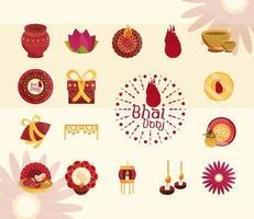 happy bhai dooj celebration prosperity and greeting icons set vector