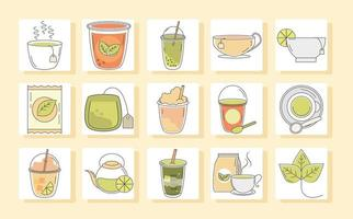 tea beverage fresh herbal antioxidant set icons line and fill vector