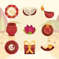 happy bhai dooj affection sister and brother celebration hindu icons set vector