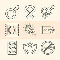 métodos anticonceptivos de salud sexual iconos de género y cinta línea azul vector