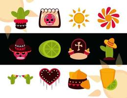 día de los muertos celebración mexicana decoración adorno iconos tradicionales estilo plano vector