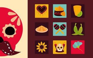 día de los muertos celebración mexicana bloque de iconos tradicionales y estilo plano vector