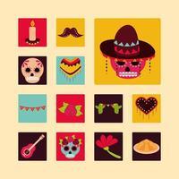 día de los muertos celebración mexicana decoración adorno bloque de iconos y estilo plano vector