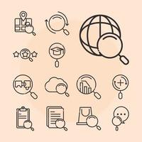 search icons mobile browser technology explore thin line style vector