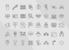 international human rights day equality justice law unity power icons collection line style vector