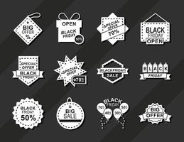 black friday announce season discount offer icons on dark background silhouette style vector