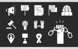 international human rights day law justice chain fight hope icons collection silhouette icon style vector