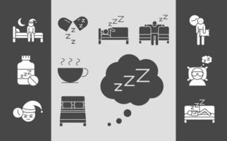 insomnia disturbed sleep night collection linear icons style vector