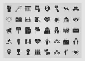 international human rights day equality justice law unity power icons collection silhouette icon style vector