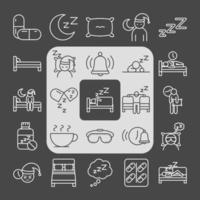 insomnia symptoms asleep disorder linear icons style vector