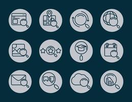 search icons magnifying glass explore web internet pack block and line style vector