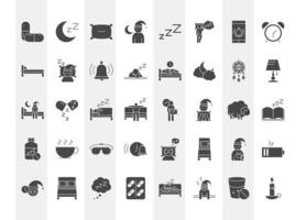 insomnia linear icons set includes pills moon pillow bed character and others vector
