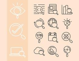 search icons magnifying glass explore web internet pack thin line style vector