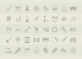 gardening tools packages of soil fertilizers seeds flowerpots planting and growing process icons set line icons style vector