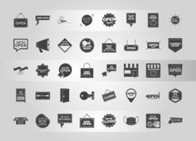 were open collection different announce sign boards silhouette icons vector