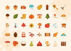 autumn season weather acorn apple cloud rain truck icons set vector