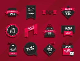 black friday announce season discount offer icons on red background flat style vector