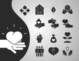community together charity donation and love silhouette icons set vector