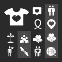 community together support charity donation and love silhouette icons set vector