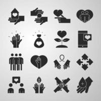 community together charity donation and love silhouette icons collection vector