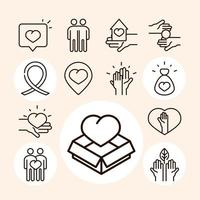 community together charity donation and love line icons collection vector