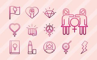 feminism movement icon power female rights pictogram line icons set vector