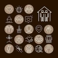 community together charity donation and love line icons set black bacground vector