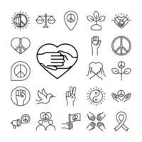 Los iconos de la línea del día de los derechos humanos establecen el diseño incluido la cinta del amor de la paz de la ley mundial vector
