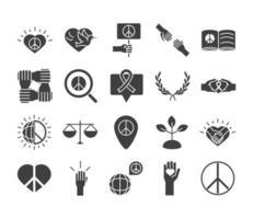 Los iconos de la línea del día de los derechos humanos establecen el diseño incluido la ley de la paz del corazón escala mundial vector