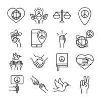 Los iconos de la línea del día de los derechos humanos establecen el diseño incluido manos paloma libro corazón vector