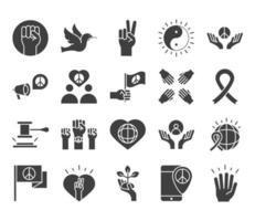 Los iconos de la línea del día de los derechos humanos establecen el diseño incluido, mano levantada, paloma, cinta de paz vector